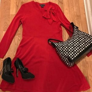 Jessica Howard Red Sweater Dress with Bow
